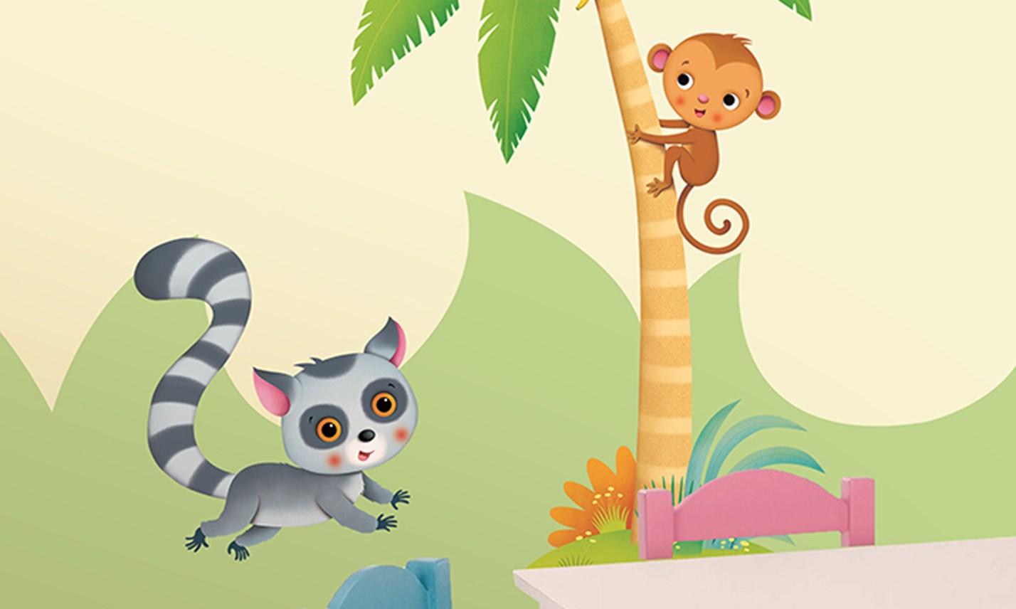 Decorazioni In Legno Per Bambini : Stickers murali bambini cameretta nella foresta tropicale